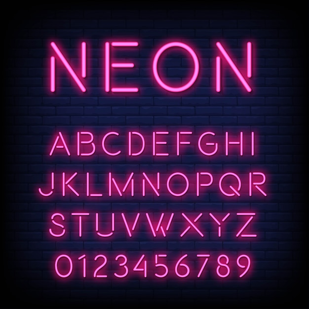 Alphabet with letters and numbers in neon effect Premium Vector