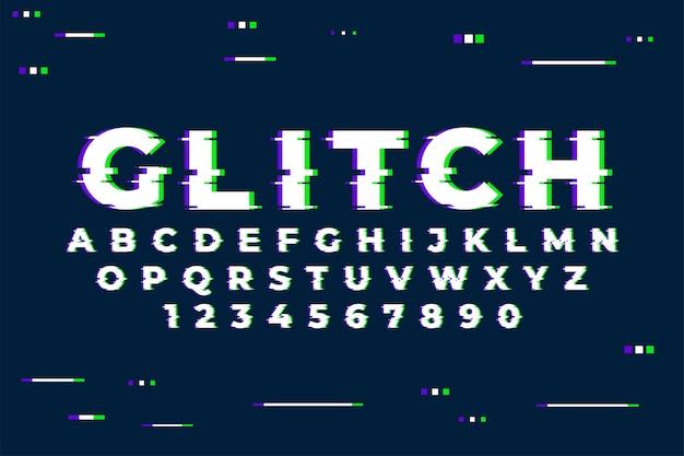 숫자와 트렌디 한 글리치 효과가있는 알파벳 무료 벡터