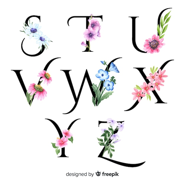 Alphabet with realistic flowers Free Vector