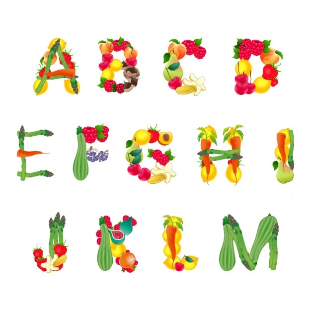 Alphabet with vegetables, part 1 Free Vector