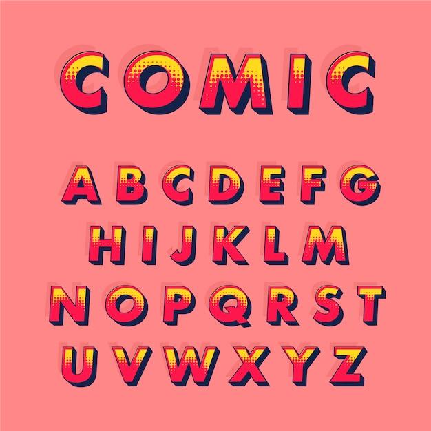 3d 만화 개념에서 a부터 z까지 알파벳 문구 무료 벡터