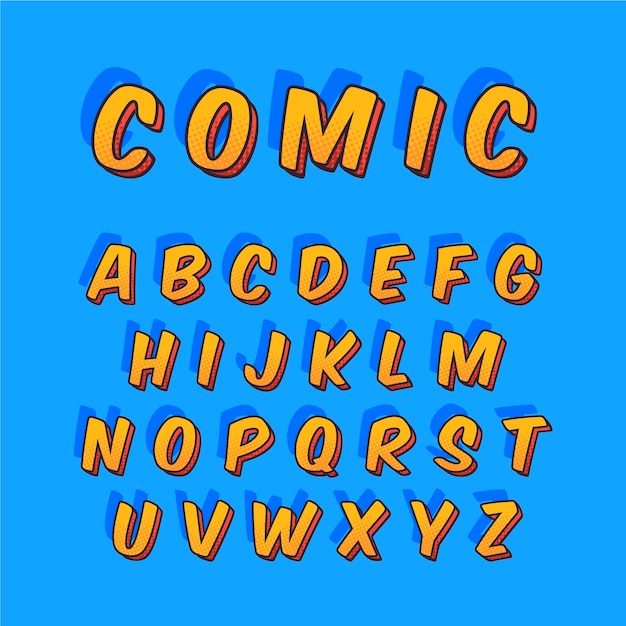 3d 만화에서 a부터 z까지 알파벳 문구 무료 벡터