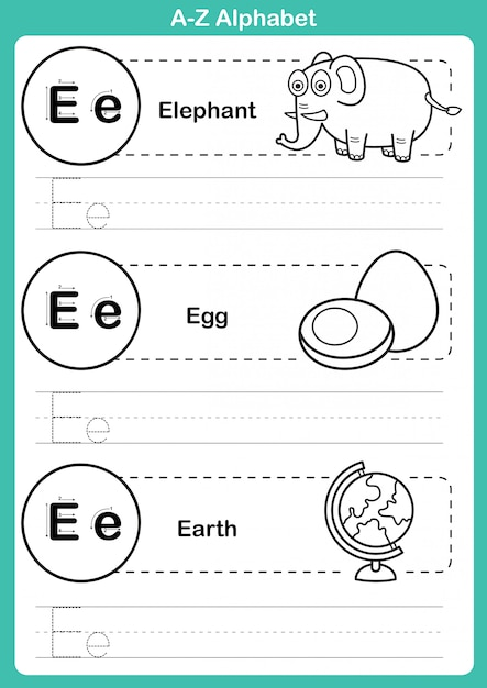 Alphabet a-z exercise with cartoon vocabulary for coloring book Premium Vector