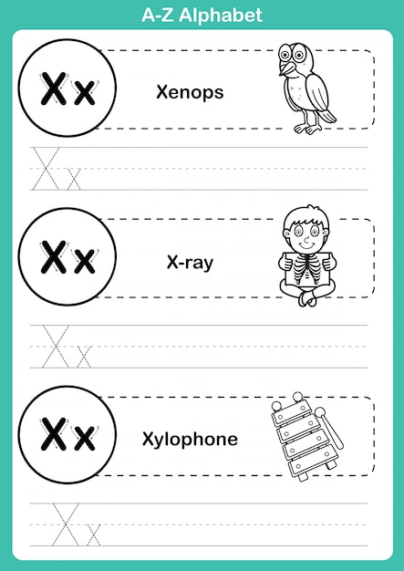 Alphabet a-z exercise with cartoon vocabulary for coloring book Premium Vector
