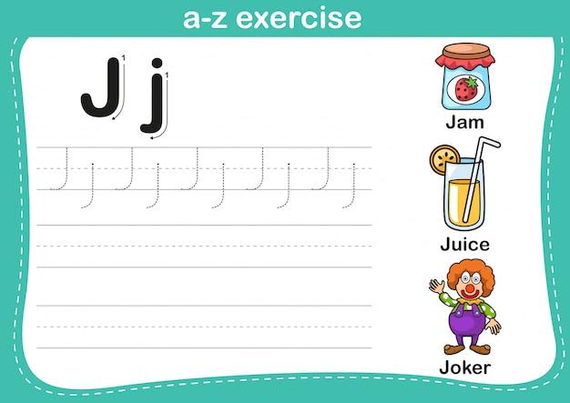 Alphabet a-z exercise with cartoon vocabulary illustration Premium Vector