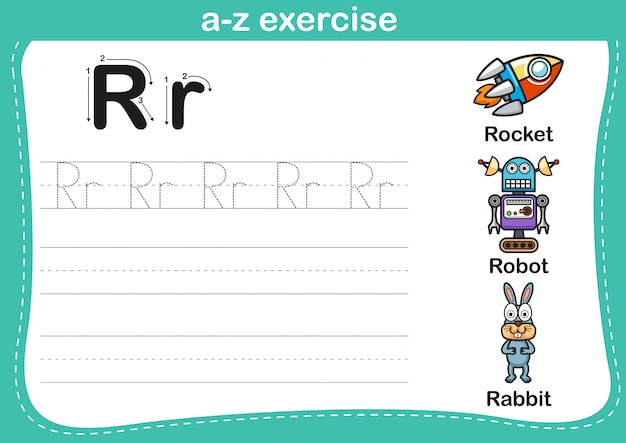 Alphabet a-z exercise with cartoon vocabulary illustration Premium Vector
