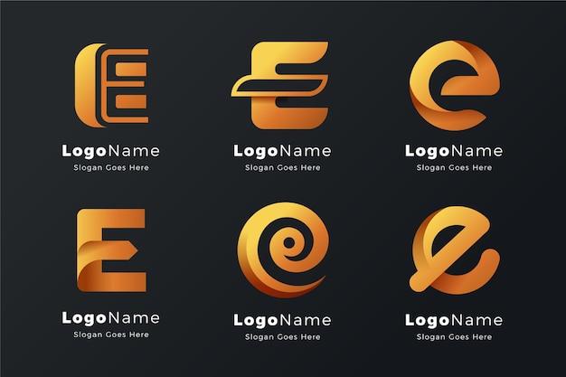 アルファベット文字eロゴコレクション 無料ベクター