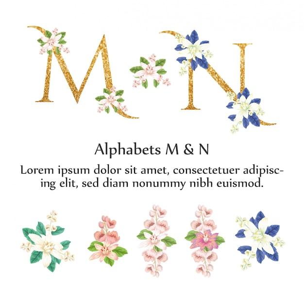 Alphabets m & n invite with watercolor flower Premium Vector