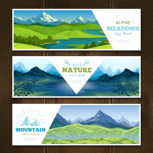Набор баннеров alpine meadows Бесплатные векторы