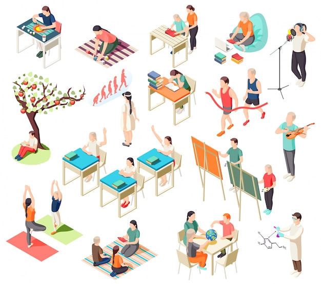 Альтернативное образование изометрические иконы коллекция с изолированной иллюстрацией школьных ситуаций с человеческими персонажами учеников Бесплатные векторы