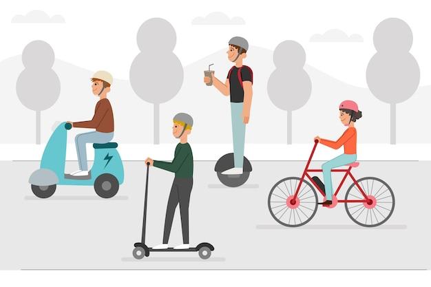 Trasporto elettrico alternativo per le strade Vettore gratuito