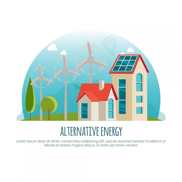 代替エネルギー、グリーン技術、バナーのコンセプト。インフォグラフィックやwebアプリの漫画イラスト Premiumベクター
