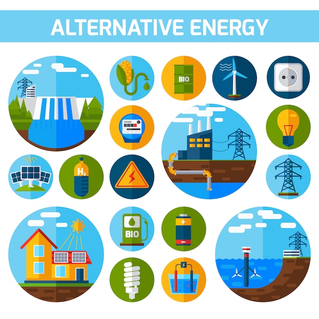 Alternative energy icons set Free Vector