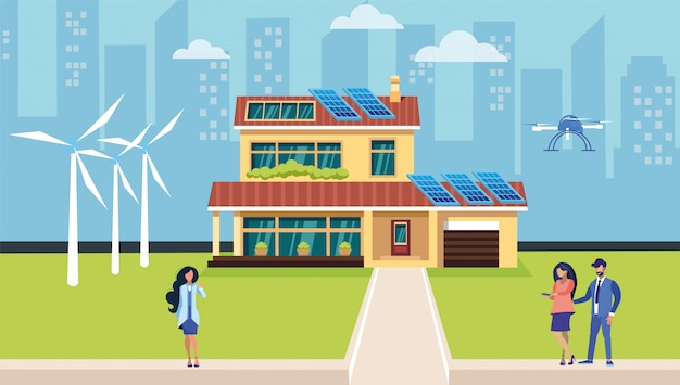 Alternative energy resources flat illustration Premium Vector