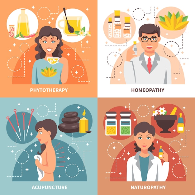 Alternative medicine elements and characters design concept Free Vector