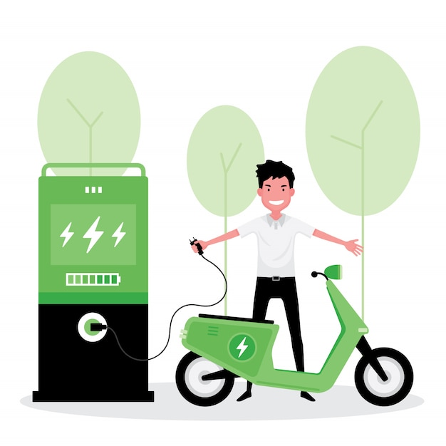 Альтернативная или зеленая энергия: мужчина заряжает свой скутер электричеством Premium векторы