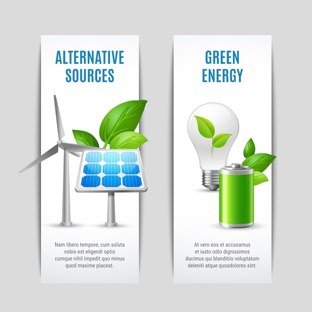 Alternative sources and green energy banners Free Vector