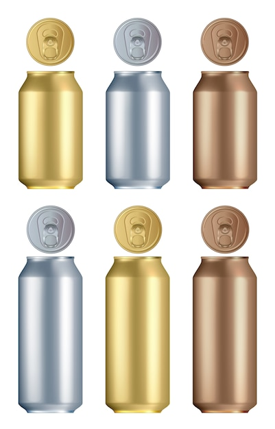 アルミ缶セット。孤立した空白の黄金、銀、青銅のアルミまたはスチールのドリンク缶 Premiumベクター