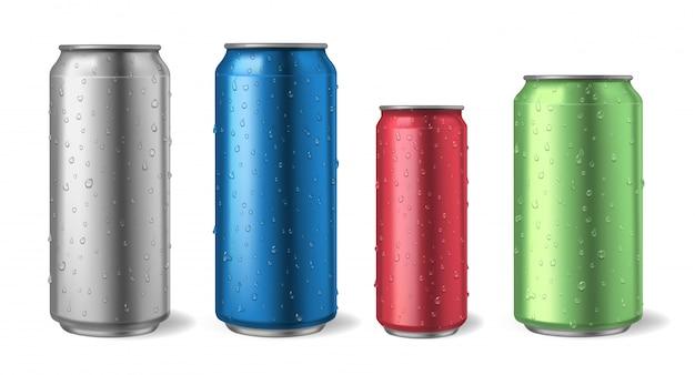 물방울과 알루미늄 캔. 현실적인 금속 수 소 다, 알코올, 레모네이드 및 에너지 음료 일러스트 세트에 대 한 모형. 알루미늄 금속 캔, 에너지 및 레모네이드 그림 프리미엄 벡터