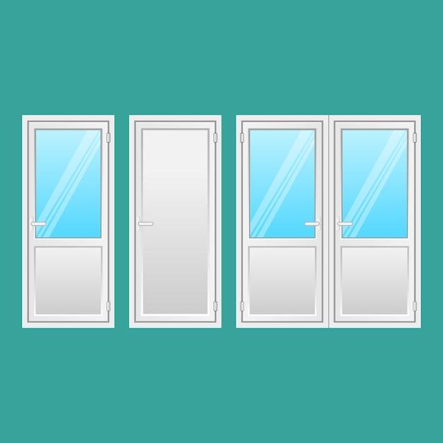 Комплект алюминиевых дверей. входные двери в дома и здания в стиле flat de изолированы. межкомнатная дверь, соединяющая дверь с окном. виды нарядных дверей из легкого прочного металла. иллюстрация. Premium векторы