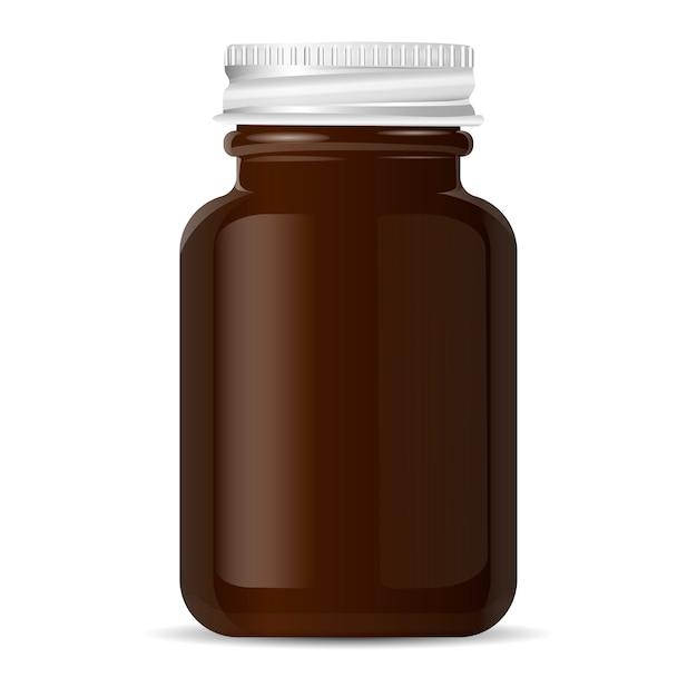 Aluminium lid pharmacy bottle for medical products Premium Vector