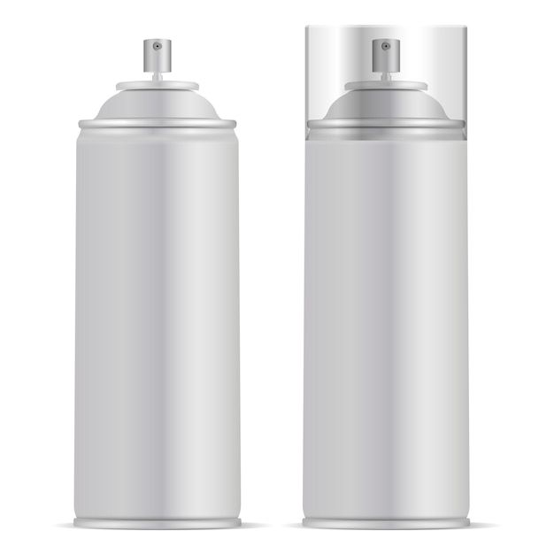 Aluminium spray can with lid vector mockup Premium Vector