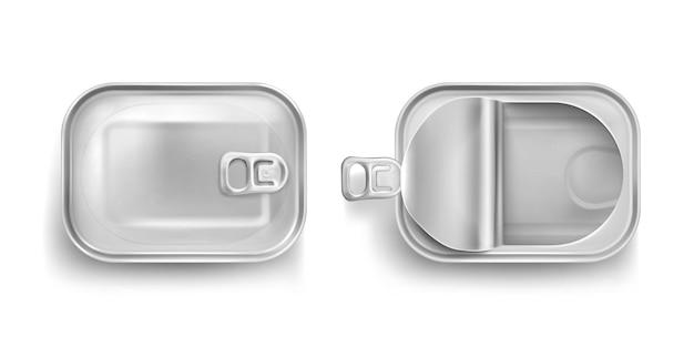 Barattolo di latta in alluminio per sardine in vista dall'alto Vettore gratuito