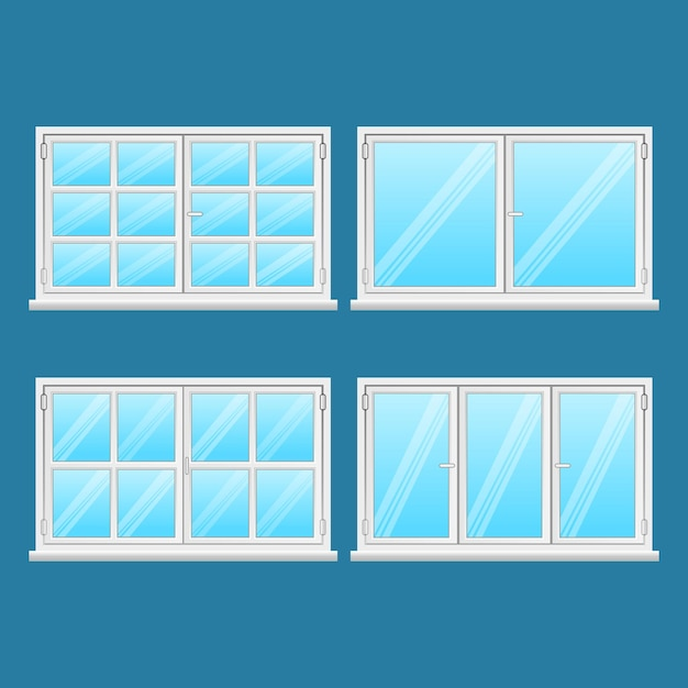 青い背景に分離されたアルミニウム窓セット。ステンレス鋼からの高品質の窓。現代のフレームタイプ。窓外用。家とオフィスの窓。窓 。図 Premiumベクター