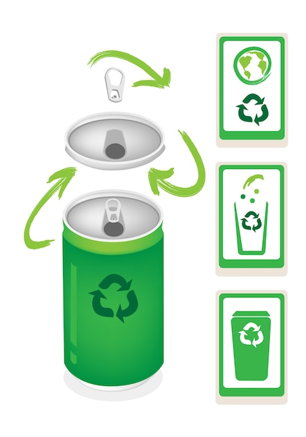 Aluminum can with recycle symbol and trash can Premium Vector