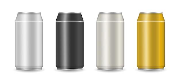 アルミニウムは、ソーダやジュースの白い背景の上に広告することができます。リアルでカラフルなアルミドリンク缶のセットです。イラスト、。 Premiumベクター