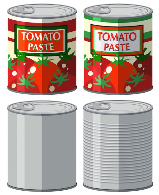 Aluminum can with and without label illustration Free Vector