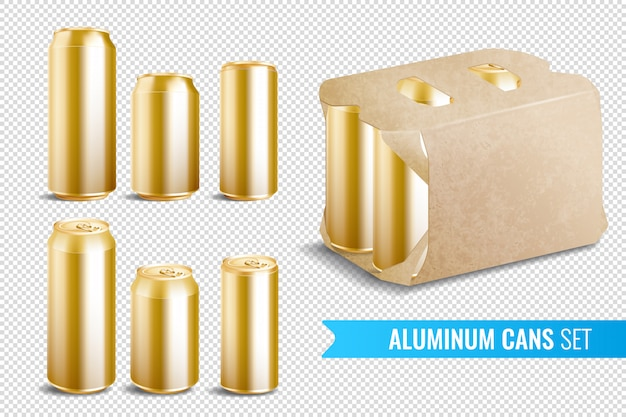Aluminum cans transparent icon set Free Vector