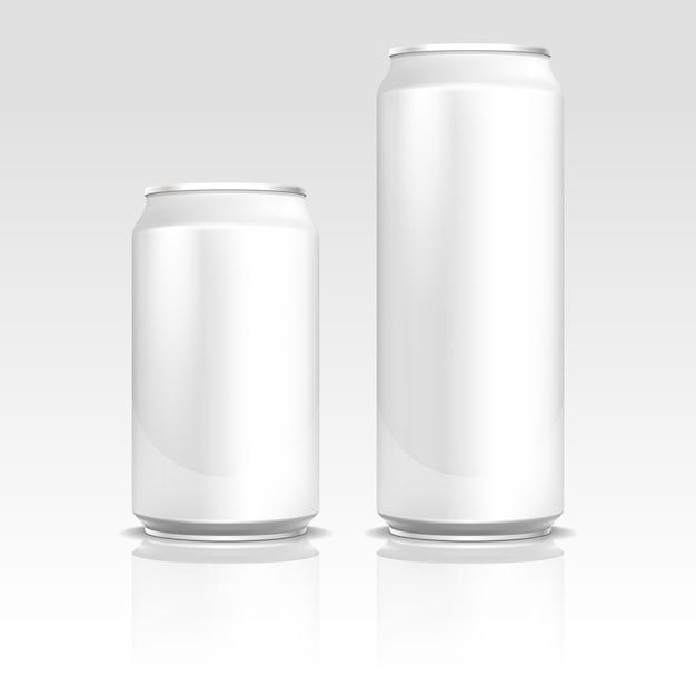 Aluminum energy drink soda beer cans Premium Vector