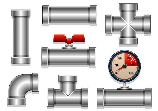 Aluminum pipes collection Premium Vector