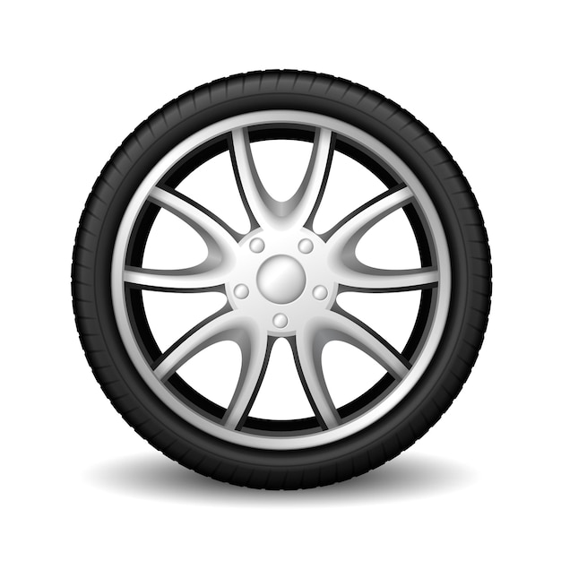 Aluminum wheel car tire racing on white Premium Vector