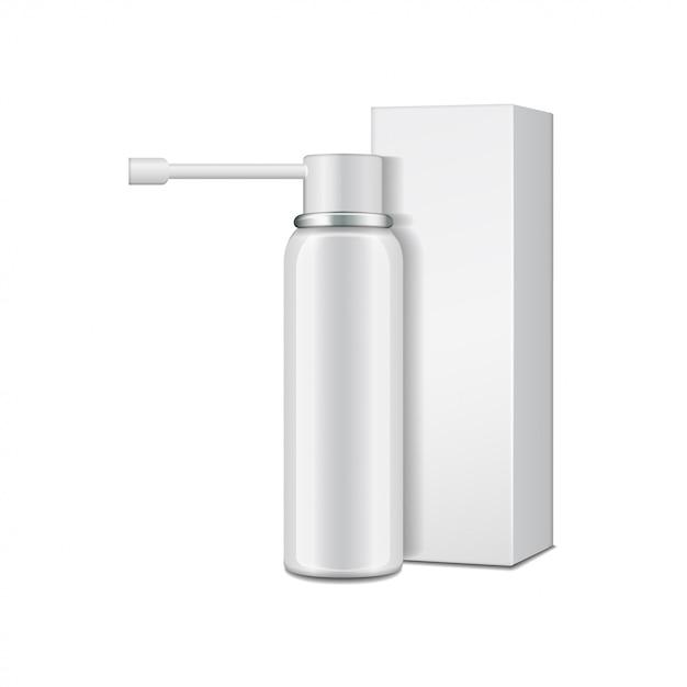 Алюминиевая белая бутылка с распылителем для орального спрея и картонной коробкой. Premium векторы