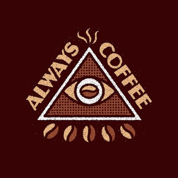常にコーヒーグランジロゴデザイン Premiumベクター