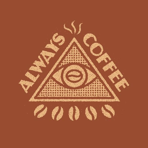 常にコーヒーの記章デザイン Premiumベクター