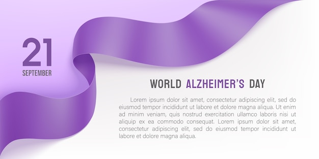 Alzheimers day poster with purple ribbon Premium Vector