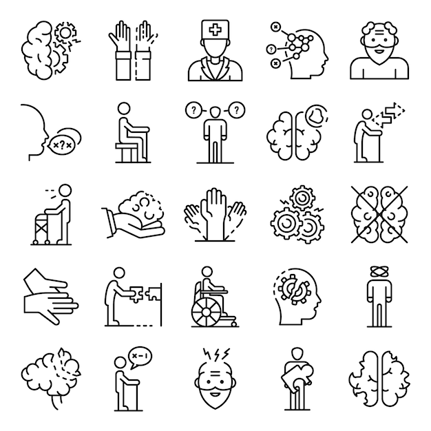 Alzheimers disease icons set, outline style Premium Vector