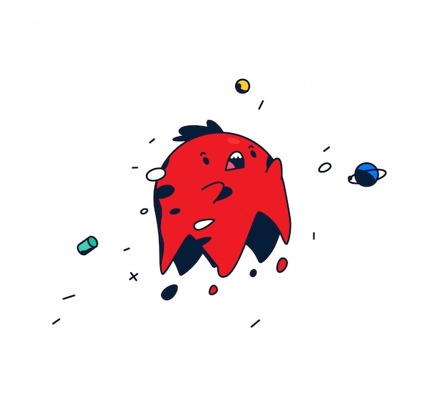 Amazing, cartoon character. red head levitating in space. Premium Vector