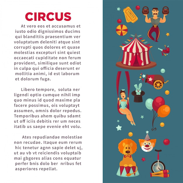 Amazing circus promo poster with participants of show and equipment. Premium Vector