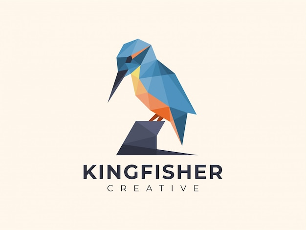 Amazing colorful geometric kingfisher logo Premium Vector
