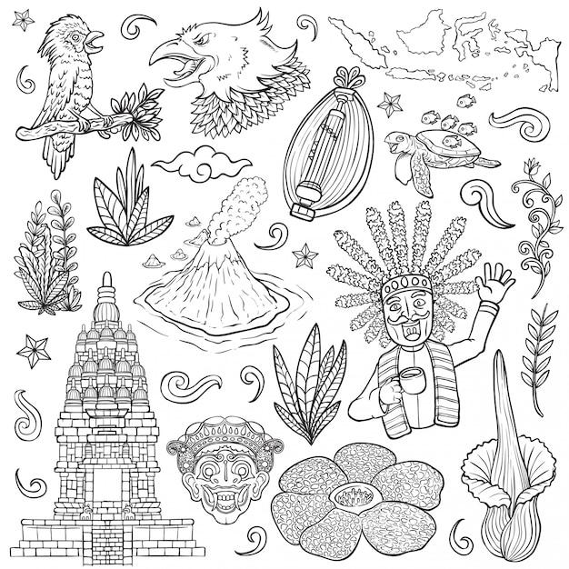 Удивительная культура флоры и фауны индонезия наброски изолированных иллюстрация Premium векторы