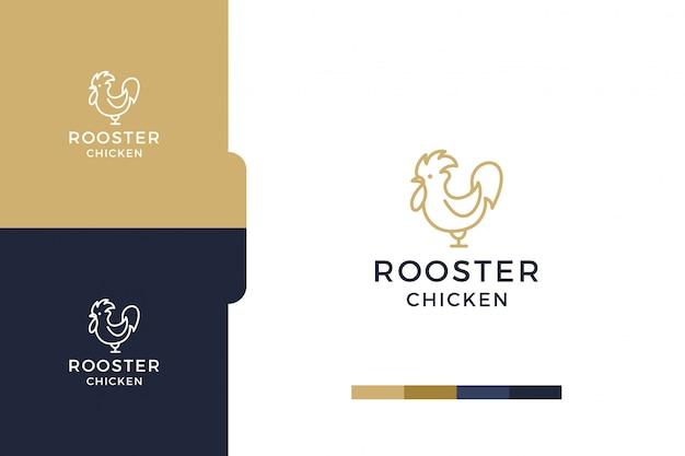 Удивительный, рисунок петух курица минималистский шаблон логотипа. Premium векторы