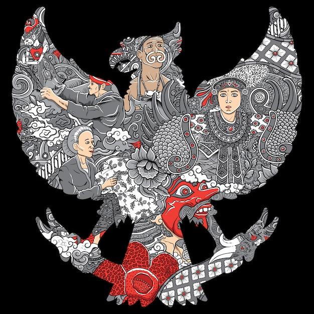 ガルーダシルエットの素晴らしいインドネシア文化 Premiumベクター
