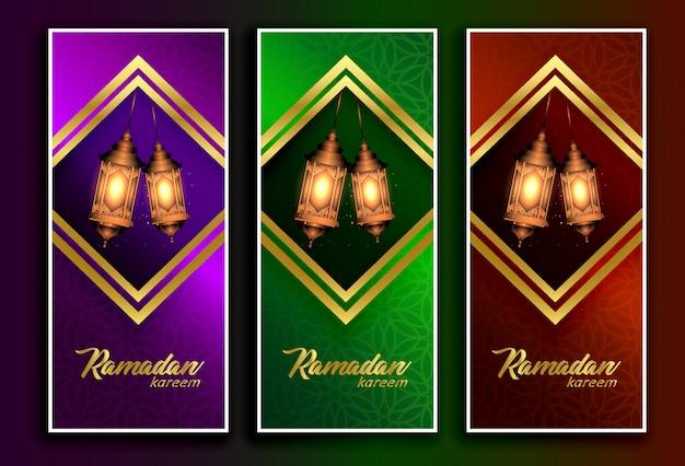 Amazing ramadan kareem banners with hanging lamps Premium Vector