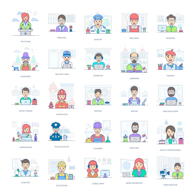 An amazing set of professional people, this flat icons pack is facilitating you with its editable style Premium Vector