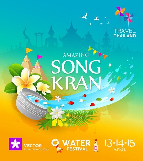 Amazing songkran festival travel thailand colorful poster design background,  illustration Premium Vector