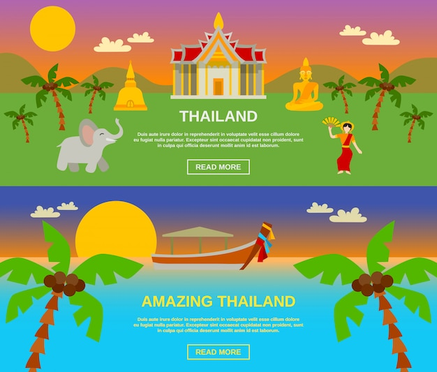 Amazing thailand banners set Free Vector